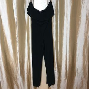 WHBM NWT black ruffle off the shoulder jumpsuit